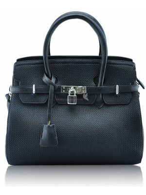 Black Padlock Tote With Long Strap